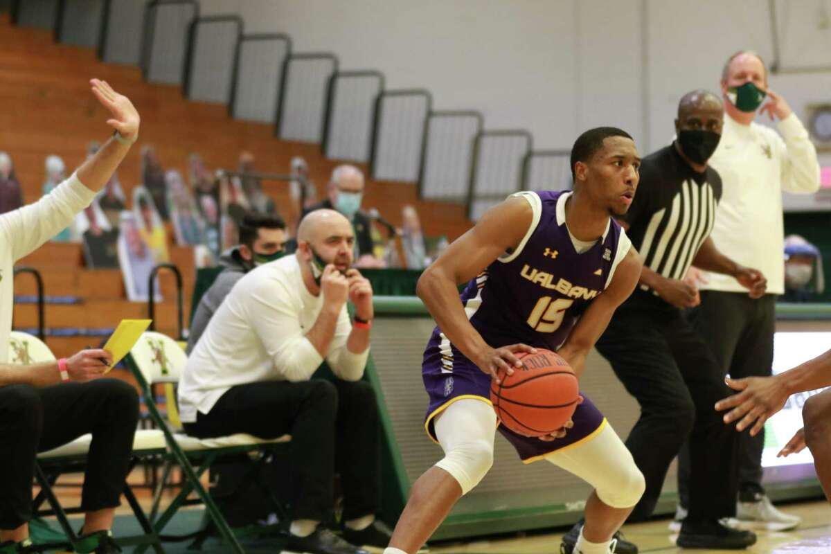 C.J. Kelly scored a game-high 27 points as UAlbany upset Vermont 63-62 Saturday, Jan. 2, 2021, in an America East basketball game at Patrick Gymnasium in Burlington, Vt. (Nich Hall/UVM athletics)