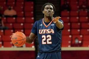 UTSA guard Keaton Wallace (22) during an NCAA college basketball game against Oklahoma Thursday, Dec. 3, 2020, in Norman, Okla. (AP Photo/Sue Ogrocki)