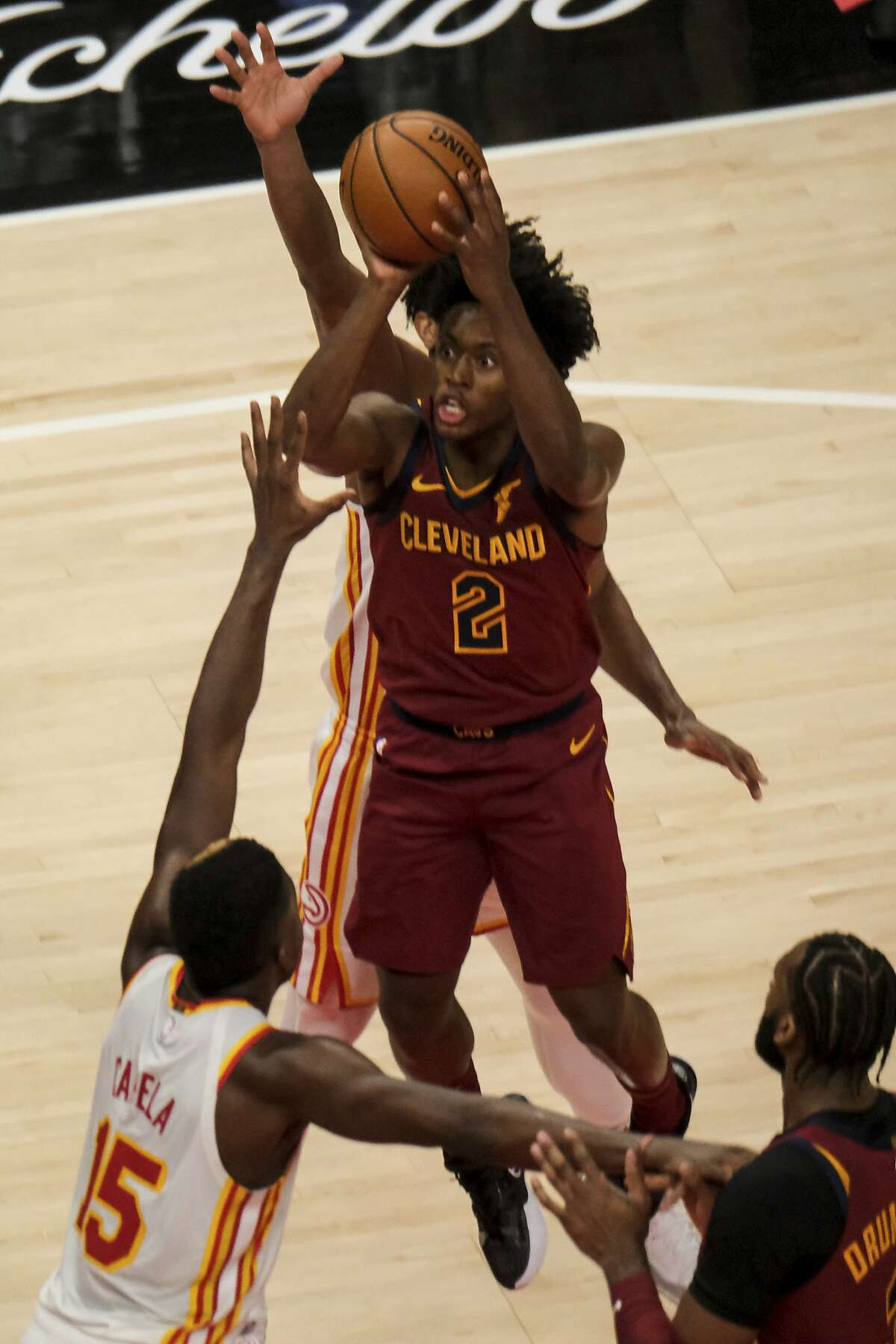 Cleveland guard Collin Sexton (2) scored 27 points, including four free throws in the final minute, to help ice the win.