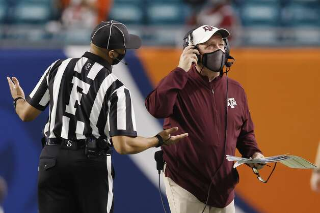 MIAMI GARDENS, FLORIDA - JANUARY 02: Head coach Jimbo Fisher of the Texas A&M Aggies reacts against the North Carolina Tar Heels during the first half of the Capital One Orange Bowl at Hard Rock Stadium on January 02, 2021 in Miami Gardens, Florida. (Photo by Michael Reaves/Getty Images) Photo: Michael Reaves/Getty Images / 2021 Getty Images