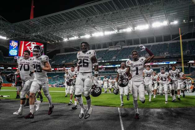 MIAMI GARDENS, FLORIDA - JANUARY 02: Texas A&M Aggies head back to the locker room prior to the game against the North Carolina Tar Heels during the Capital One Orange Bowl at Hard Rock Stadium on January 02, 2021 in Miami Gardens, Florida. (Photo by Mark Brown/Getty Images) Photo: Mark Brown/Getty Images / 2021 Getty Images