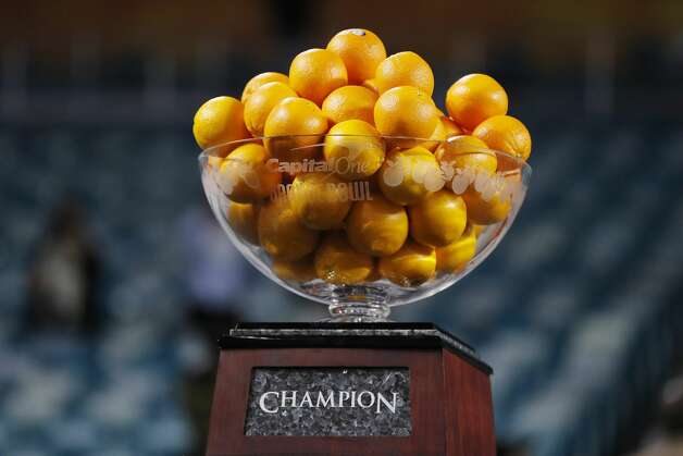 MIAMI GARDENS, FLORIDA - JANUARY 02: The Capital One Orange Bowl trophy is seen during the game between the Texas A&M Aggies and the North Carolina Tar Heels at Hard Rock Stadium on January 02, 2021 in Miami Gardens, Florida. (Photo by Michael Reaves/Getty Images) Photo: Michael Reaves/Getty Images / 2021 Getty Images