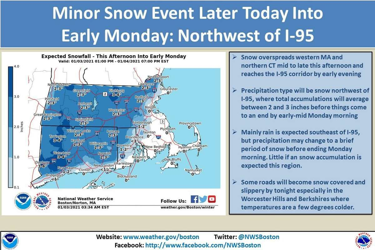 Parts of Connecticut could see some snowfall Sunday into Monday, the NWS says.