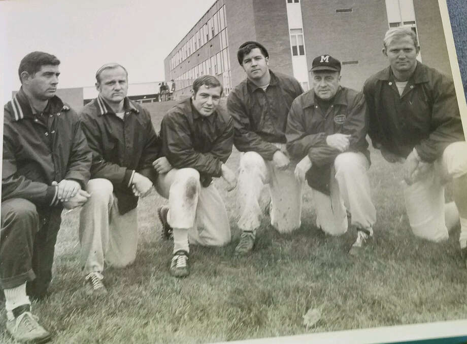 Jeff Hartman (far right) poses with fellow Midland High football coaches (from left) Oscar Hahn, Gary Jozwiak, Frank Altimore, Dave Arnold, and Bob Stoppert during the 1968 season. Photo: Photo Provided