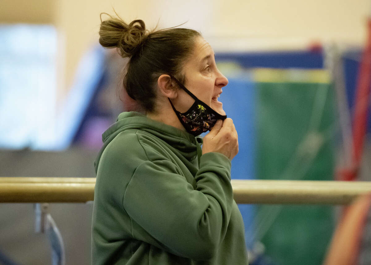 Saratoga gymnastics coach Deborah Smarro calls out to one of her gymnasts at practice on Saturday, Jan. 2, 2021, at Wilton's YMCA in Saratoga Springs, N.Y. (Jenn March, Special to the Times Union)