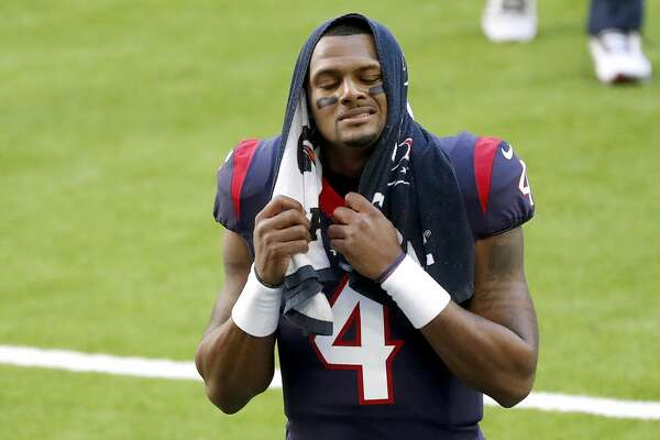 Houston Texans quarterback Deshaun Watson (4) walks back to the locker room after warm ups before the start of an NFL football game Sunday, Jan. 3, 2021, at NRG Stadium in Houston .
