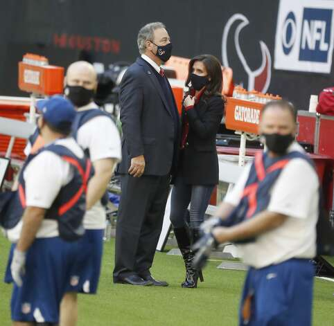 Houston Texans owner Cal McNair with his wife, Hannah before the start of an NFL football game Sunday, Jan. 3, 2021, at NRG Stadium in Houston . Photo: Karen Warren/Staff Photographer / © 2021 Houston Chronicle