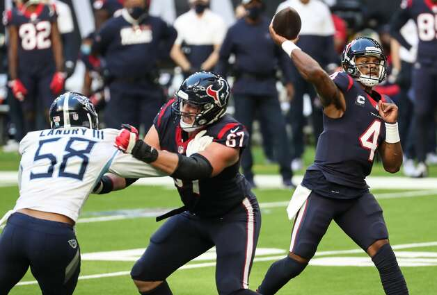 Houston Texans quarterback Deshaun Watson (4) throws a pass as he is pressured by Tennessee Titans outside linebacker Harold Landry (58) during the first half of an NFL football game at NRG Stadium on Sunday, Jan. 3, 2021, in Houston. Photo: Brett Coomer/Staff Photographer / © 2021 Houston Chronicle