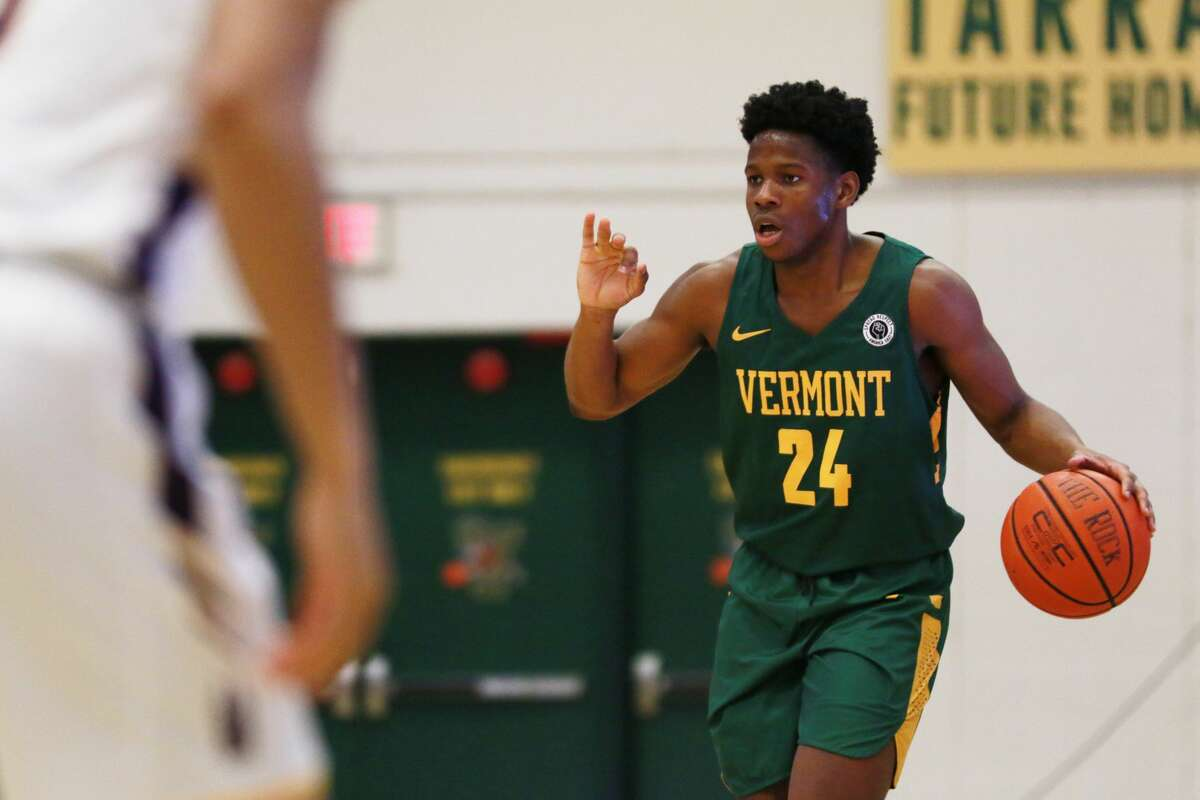 Vermont senior Ben Shungu had a career-high 21 points, 17 in the first half, as Vermont defeated UAlbany 74-66 in an America East basketball game Sunday, Jan. 3, 2021, at Patrick Gymnasium in Burlington, Vt. (Nich Hall/UVM athletics)