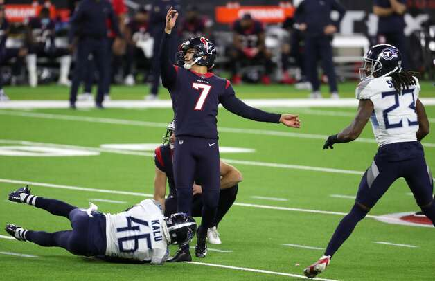 Houston Texans kicker Ka'imi Fairbairn (7) kicks a 51-yard field goal to to the game against the Tennessee Titans during the fourth quarter of an NFL football game at NRG Stadium on Sunday, Jan. 3, 2021, in Houston. Photo: Brett Coomer/Staff Photographer / © 2021 Houston Chronicle