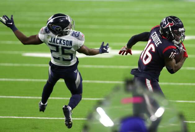 Houston Texans wide receiver Keke Coutee (16) makes a first down catch against Tennessee Titans cornerback Adoree' Jackson (25) during the fourth quarter of an NFL football game at NRG Stadium on Sunday, Jan. 3, 2021, in Houston. Photo: Brett Coomer/Staff Photographer / © 2021 Houston Chronicle