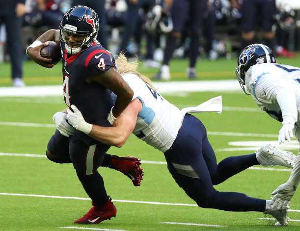 Houston Texans quarterback Deshaun Watson (4) is sacked by Tennessee Titans linebacker Brooks Reed (42) during the second quarter of an NFL football game at NRG Stadium on Sunday, Jan. 3, 2021, in Houston. Photo: Brett Coomer/Staff Photographer / © 2021 Houston Chronicle