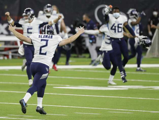 Tennessee Titans kicker Sam Sloman (2) celebrates his winning field goal in the final seconds for the 41-38 win over the Houston Texans during the fourth quarter of an NFL football game Sunday, Jan. 3, 2021, at NRG Stadium in Houston. Photo: Karen Warren/Staff Photographer / © 2021 Houston Chronicle