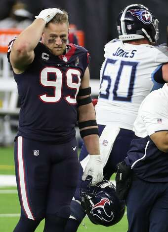 Houston Texans defensive end J.J. Watt (99) walks off the field after losing to the Tennessee Titans 41-38 in the final game of the season at NRG Stadium on Sunday, Jan. 3, 2021, in Houston. Photo: Brett Coomer/Staff Photographer / © 2021 Houston Chronicle