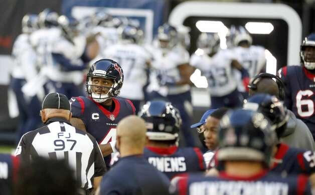 Houston Texans quarterback Deshaun Watson (4) reacts after throwing an interception during the first quarter of an NFL football game Sunday, Jan. 3, 2021, at NRG Stadium in Houston . Photo: Karen Warren/Staff Photographer / © 2021 Houston Chronicle
