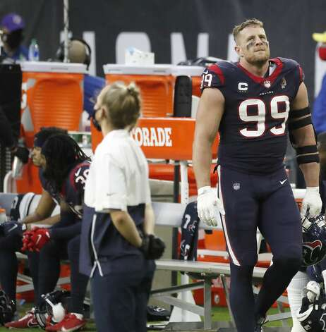 A frustrated Houston Texans defensive end J.J. Watt (99) on the sidelines during the third quarter of an NFL football game Sunday, Jan. 3, 2021, at NRG Stadium in Houston . Photo: Karen Warren/Staff Photographer / © 2021 Houston Chronicle