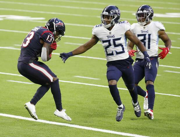 Houston Texans wide receiver Brandin Cooks (13) tiptoes backward over the goal line for a touchdown during the third quarter of an NFL football game Sunday, Jan. 3, 2021, at NRG Stadium in Houston . Photo: Karen Warren/Staff Photographer / © 2021 Houston Chronicle