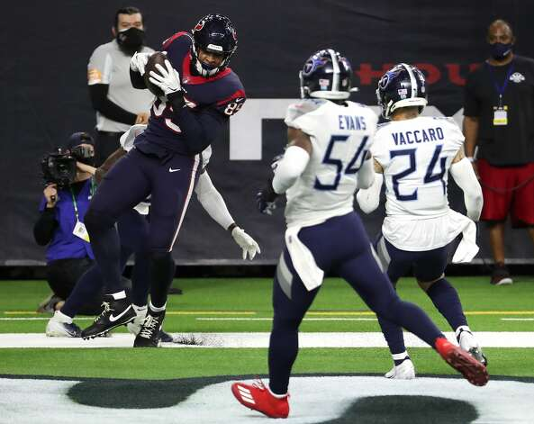 Houston Texans tight end Pharaoh Brown (85) makes a 7-yard touchdown reception against the Tennessee Titans during the fourth quarter of an NFL football game at NRG Stadium on Sunday, Jan. 3, 2021, in Houston. Photo: Brett Coomer/Staff Photographer / © 2021 Houston Chronicle