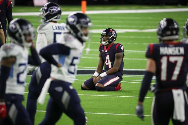 Houston Texans quarterback Deshaun Watson kneels on the field after failing convert on third down near the end of the game against the Tennessee Titans during the fourth quarter of an NFL football game at NRG Stadium on Sunday, Jan. 3, 2021, in Houston. Photo: Brett Coomer/Staff Photographer / © 2021 Houston Chronicle