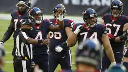 Houston Texans quarterback Deshaun Watson (4) argues a call during the second quarter of an NFL football game Sunday, Jan. 3, 2021, at NRG Stadium in Houston .