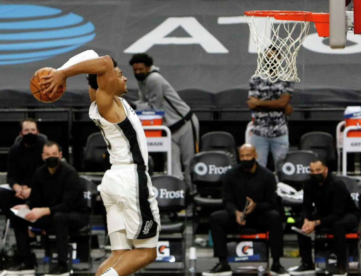 Second-year Spurs forward Keldon Johnson, preparing for a dunk against the Jazz on Sunday, led the team with 22 points in the loss and he's second of the team with 16.2 points per game this season.