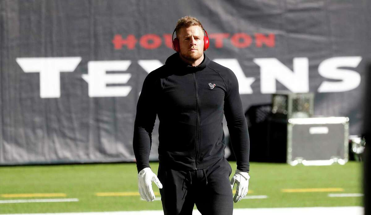 Houston Texans defensive end J.J. Watt warms up before the start of an NFL football game Sunday, Jan. 3, 2021, at NRG Stadium in Houston .