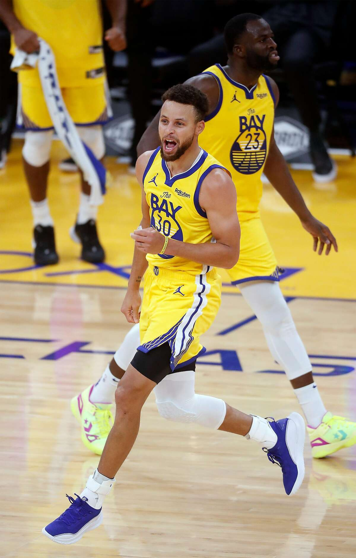 Golden State Warriors' Stephen Curry celebrates his 3-pointer giving him a career high 62 points in 4th quarter of Warriors' 137-122 win over Portland Trail Blazers in NBA game at Chase Center in San Francisco, Calif., on Sunday, January 3, 2021.