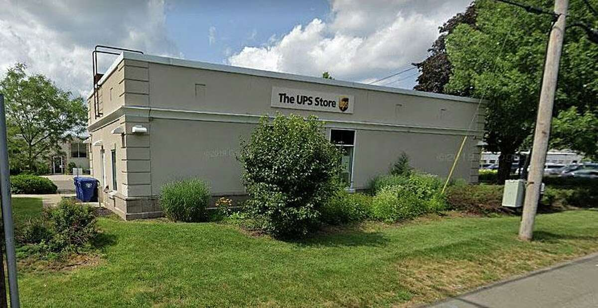 A Google Streetview screenshot of The UPS Store in Woodbridge, Conn.