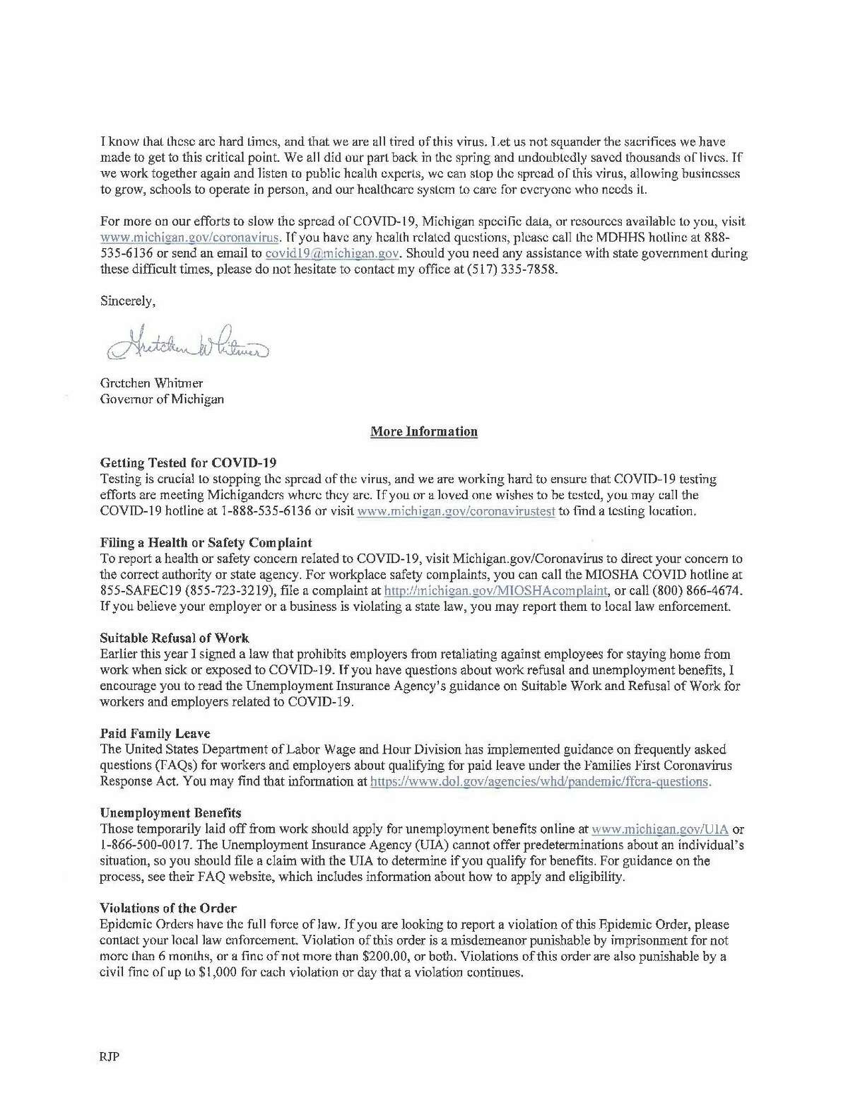 Governor Whitmer's letter sent to the commissioners earlier this month explaining the need for the in-effect orders. (Courtesy Photo/Huron County)