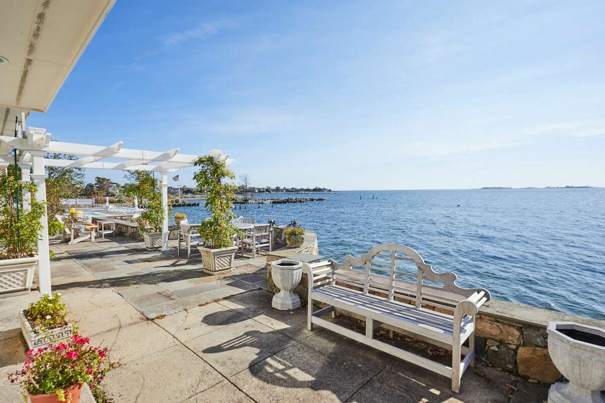Patio at 34 Shorehaven Road, Norwalk looking out on Long Island Sound.