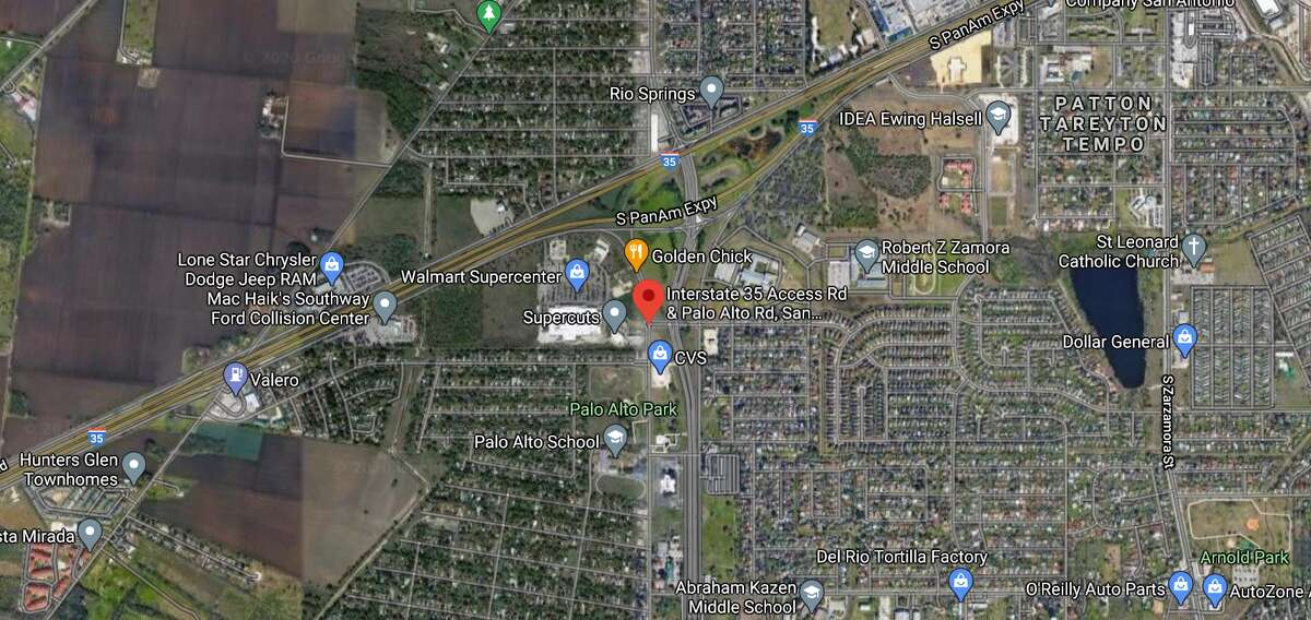 One man is dead after crashing into the back of a flatbed truck Sunday, San Antonio police said. The map shows the approximate location of the incident.