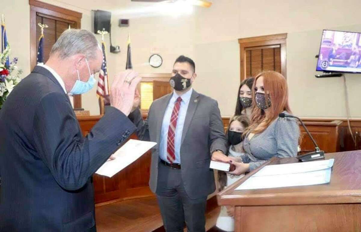 Precinct 1 Commissioner Jesse Gonzalez was sworn in for his seat by State Rep. Tracy O. King.