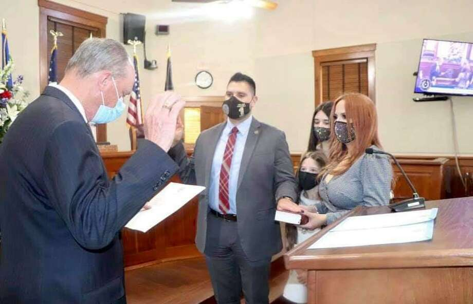 Precinct 1 Commissioner Jesse Gonzalez was sworn in for his seat by State Rep. Tracy O. King. Photo: Courtesy