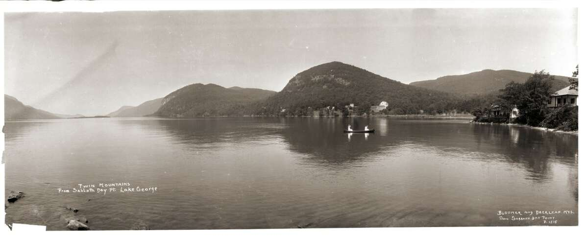 J. S. Wooley (American 1867-1930), Twin Mountains from Sabbath Day Pt Lake George, no date, vintage negative, contemporary print, Collection of Matt Finley