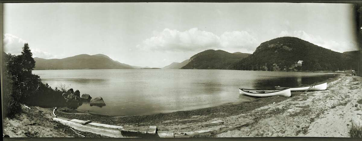 J. S. Wooley (American 1867-1930),Guide Boats, Southern View from Sabbath Day Point, Lake George, ca 1909, vintage negative, contemporary print, Collection of Matt Finley