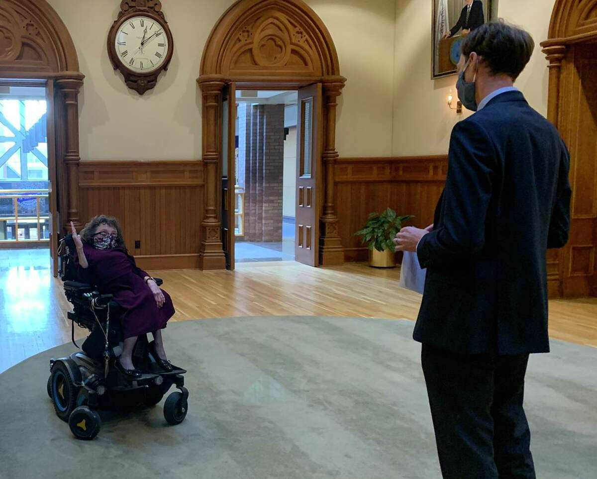 Michelle Duprey, former director of the New Haven Department of Services for Persons with Disabilities, was sworn in Monday as deputy corporation counsel by Mayor Justin Elicker.