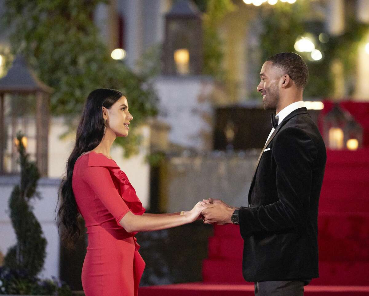 """Matt James meets contestant Corrinne Jones of Connecticut during the filming of """"The Bachelor."""" ABC's newest season of """"The Bachelor"""" premiered Jan. 4 at 8 p.m. and features the show's first-ever Black bachelor. According to his bio on ABC, Matt James, 28, is a real estate broker, entrepreneur and """"community organization founder"""" from North Carolina."""