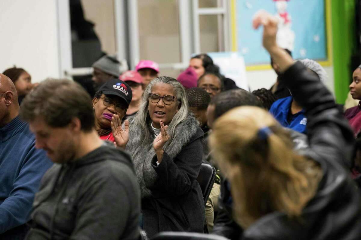 Houston ISD community members gathered at Peck Elementary School in January 2019 for a meeting held to solicit feedback from the public about the district then-ongoing superintendent search. A state conservator ordered a halt to the search in March 2019, but HISD trustees are taking the first steps toward resuming the search.