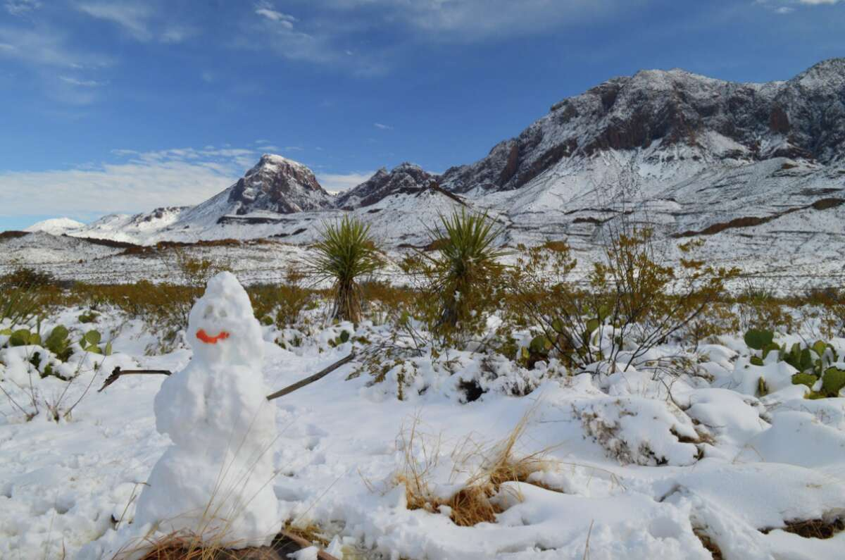 Big Bend National Park received 12 to 18 inches of snow on New Year's Eve. The park shared this photo of a snow man and the blanket of snow it experienced.