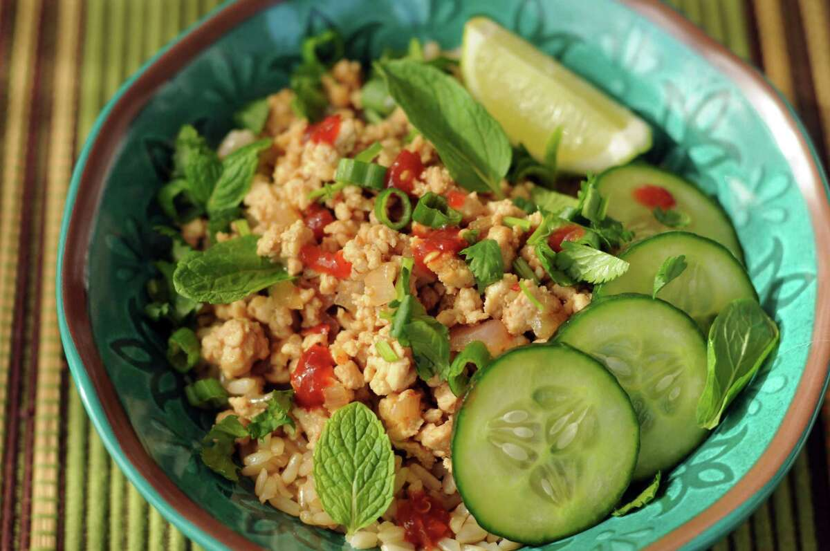 "Chicken Larb Bowls from ""Skinnytaste Meal Prep"" by Gina Homolka (Clarkson Potter, $32.50)"