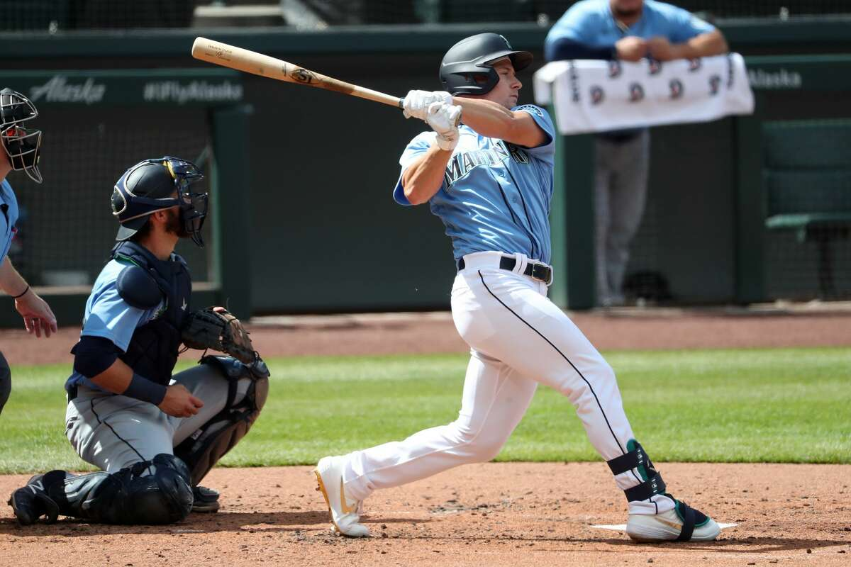 SEATTLE, WASHINGTON - JULY 12: Jarred Kelenic #58 of the Seattle Mariners swings at a pitch in the second inning of an intrasquad game during summer workouts at T-Mobile Park on July 12, 2020 in Seattle, Washington. (Photo by Abbie Parr/Getty Images)
