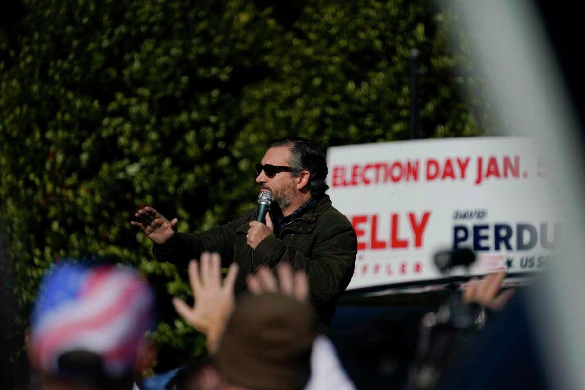 Sen. Ted Cruz, R-Texas, speaks at a campaign rally for Sen. Kelly Loeffler, R-Ga., on Saturday, Jan. 2, 2021, in Cumming, Ga. (AP Photo/Brynn Anderson)