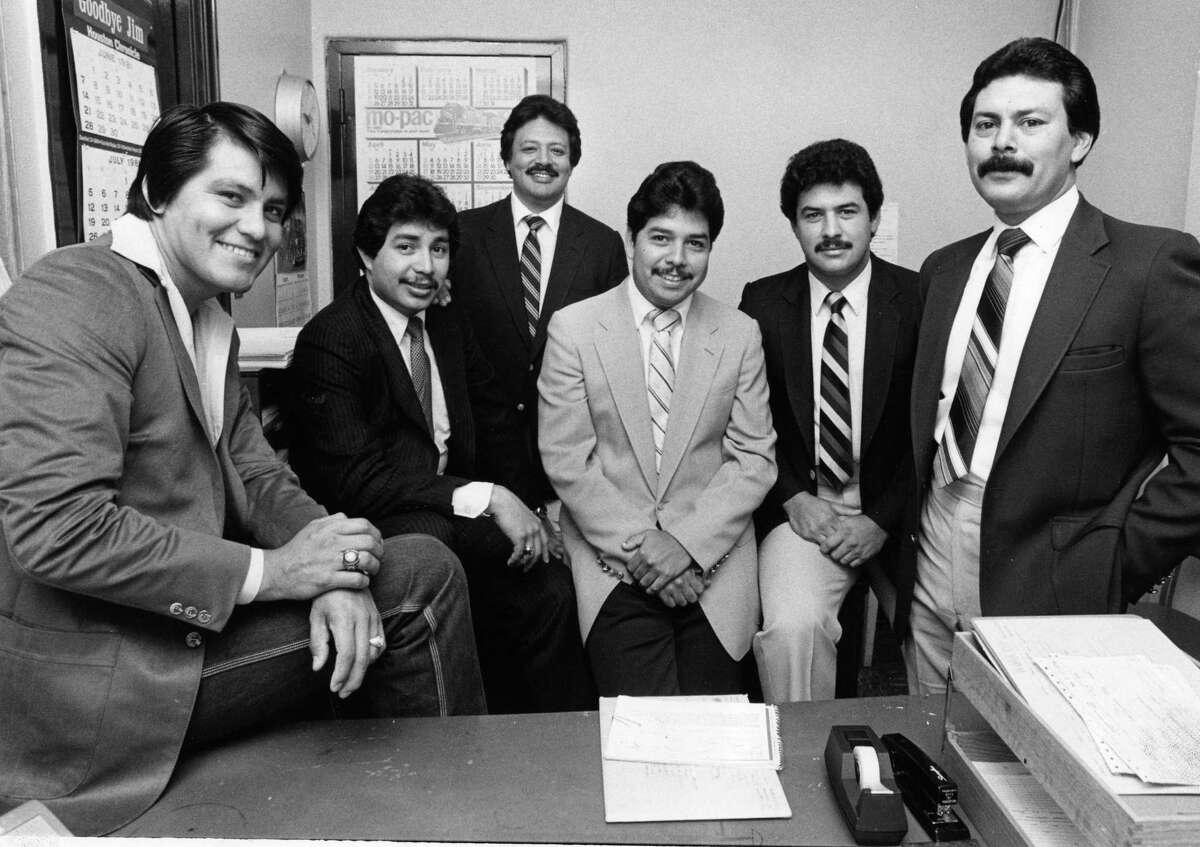 08/18/1981 - Houston Police Department Chicano Squad (l-r): Jose Selvera Jr., Raymond Gonzales, Jim Montero, Cecil Mosqueda, Robert Gatewood, and U. P. Hernandez. Jerry Click / Houston Post