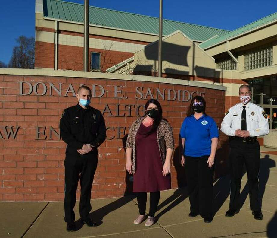 Centerstone is partnering with Alton Police to provide mental health assistance. Pictured from left are Alton Deputy Chief of Police Lt. Jarrett Ford; Brittany Pinnon-Becker, Clinical Manager at Centerstone; Regina Plummer, EDA Counselor at Centerstone; and Alton Police Chief Marcos Pulido.