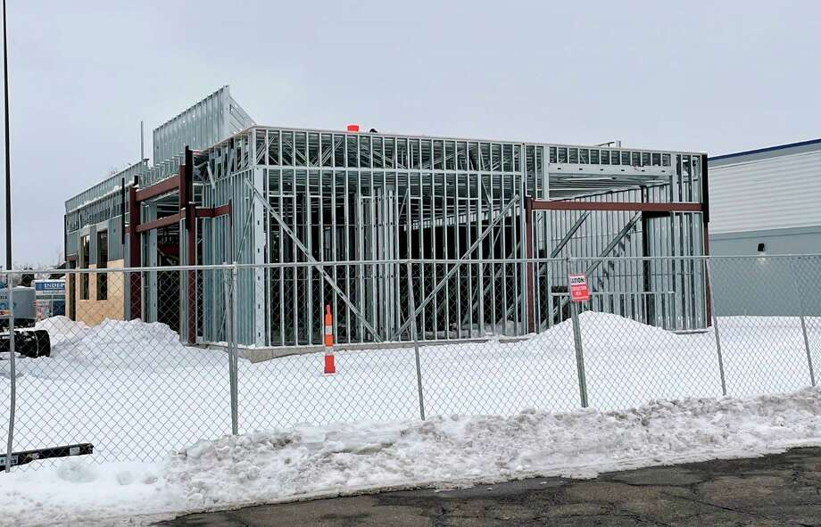 The new RAIR location, at 702 Perry Ave., Big Rapids, is currently under construction. The company hopes to open the marijuana provisioning center to the public on May 1. (Pioneer photo/Brad Massman)