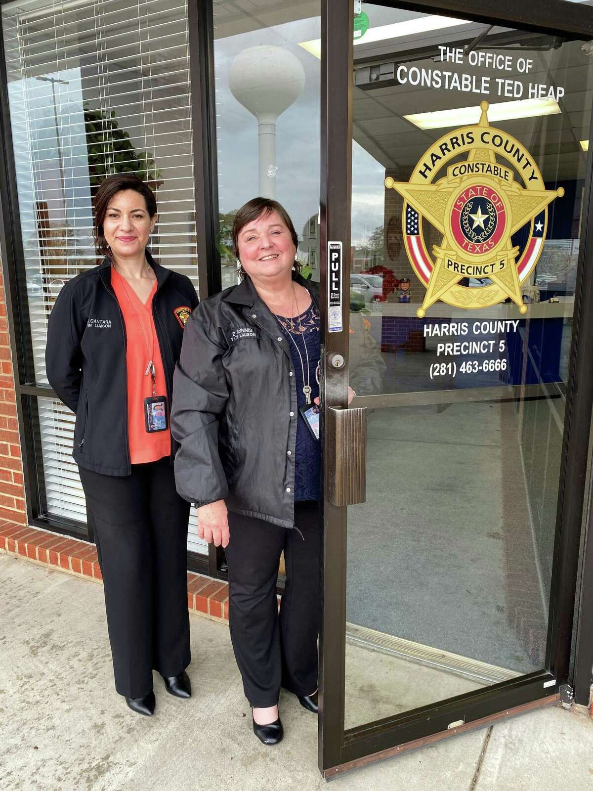 Karina Alcántara, left, and Barb McInnis are victim liaisons for the Crime Victims Assistance Unit at Harris County Precinct 5 Constable's Office.