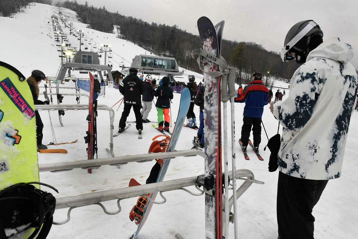 Skiers head to the ski lift at West Mountain on Monday, Jan. 4, 2021 in Queensbury, N.Y. (Lori Van Buren/Times Union)