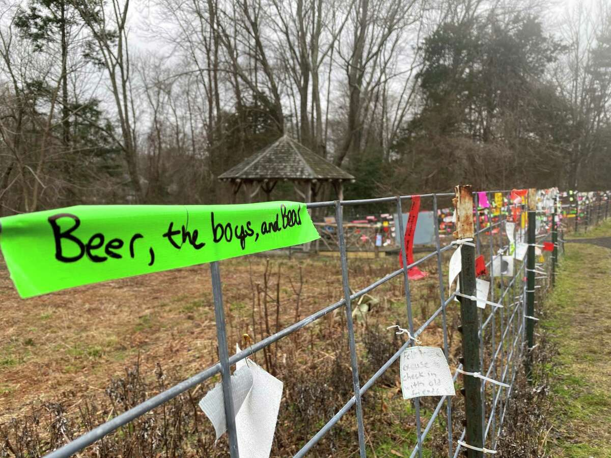 Hundreds of messages of gratitude on tape, post-it notes and paper have been left at Irwin Park in New Canaan attached to the fence near the gazebo. The supplies needed for visitors to share their thankyous are supplied in the gazebo.
