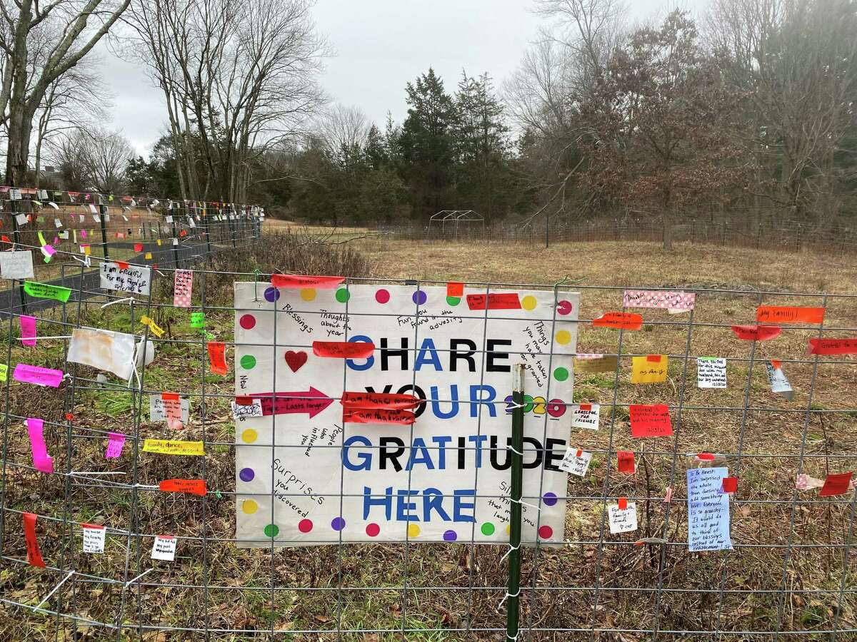 Messages for Project Gratitude have been left at Irwin Park in New Canaan attached to the fence near the gazebo.