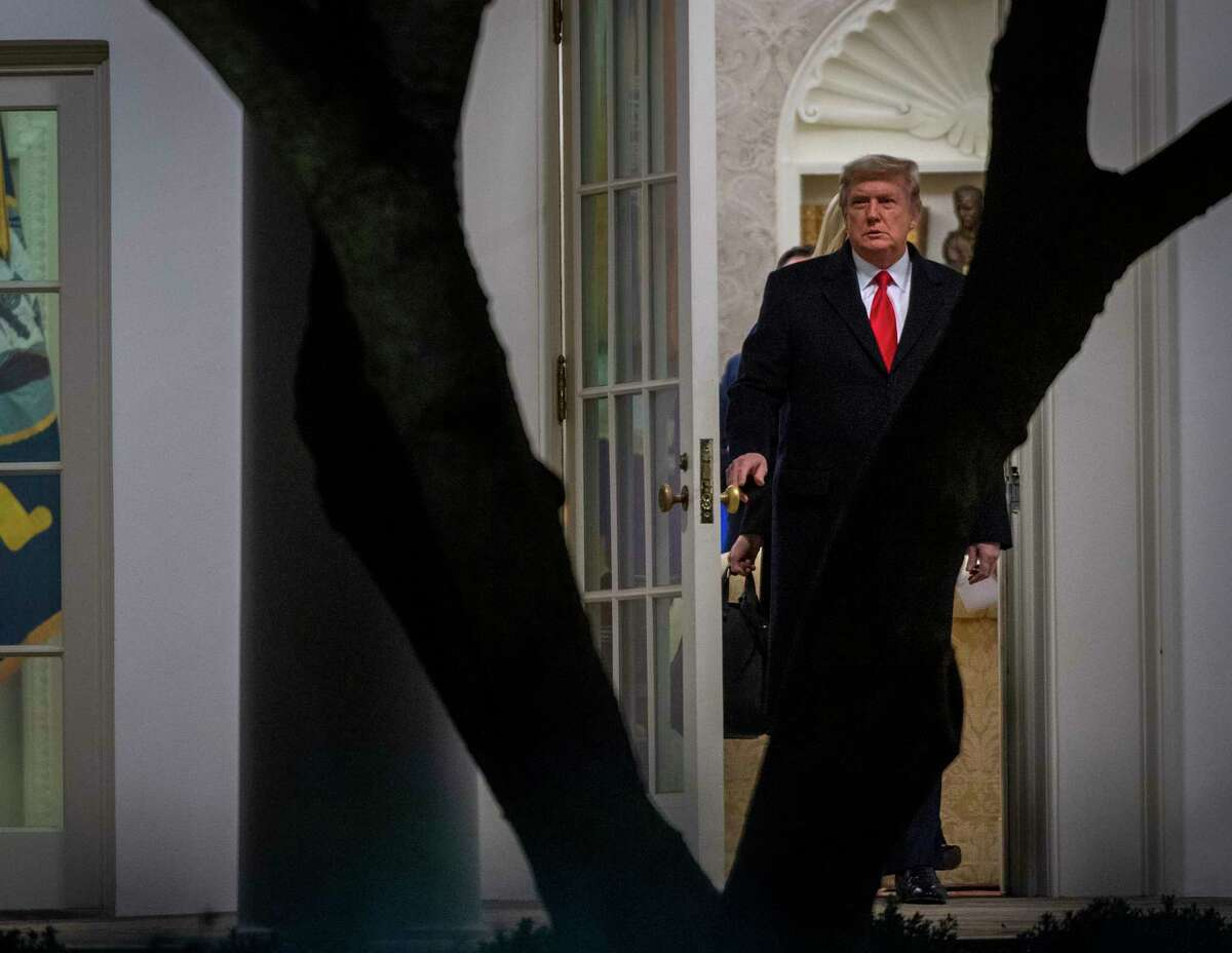 President Donald Trump leaves the White House on his way to a rally in Georgia on Monday, Jan. 4, 2021.